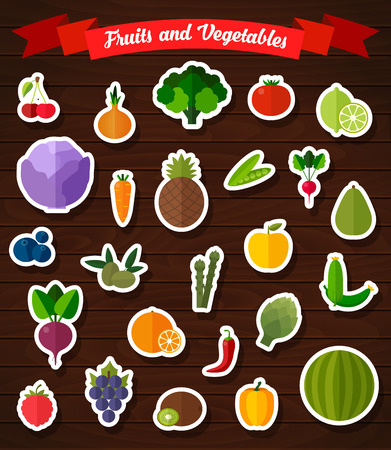 Colorful flat fruits and vegetables stickers set. Template for cooking, restaurant menu and vegetarian food
