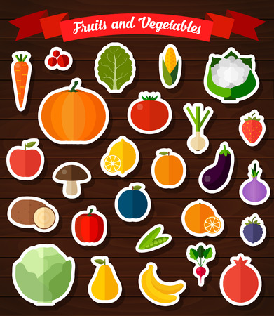 pomergranate: Colorful flat fruits and vegetables stickers set. Template for cooking, restaurant menu and vegetarian food