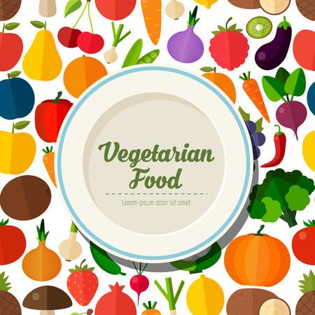 Colorful template for cooking, restaurant menu and vegetarian food Ilustração