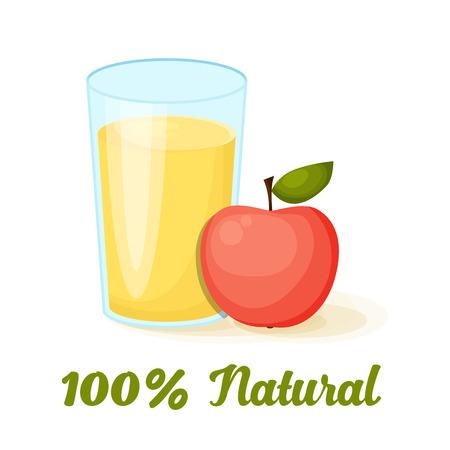 Apple juice vector illustration. restaurant menu and vegetarian food Ilustração
