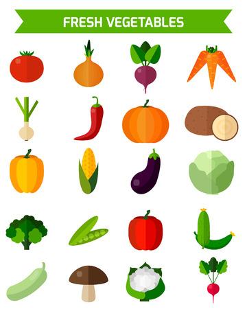 Flat vector illustratie voor uw ontwerp. Kleurrijke sjabloon voor het koken, restaurant menu en vegetarische gerechten