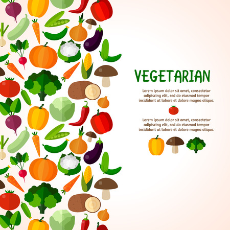 Vegetables background. Colorful template for cooking, restaurant menu and vegetarian food Ilustracja