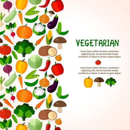 Vegetables background. Colorful template for cooking, restaurant menu and vegetarian food Ilustração