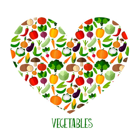 Vegetables background with heart in flat style. Colorful template for cooking, restaurant menu and vegetarian food Ilustração