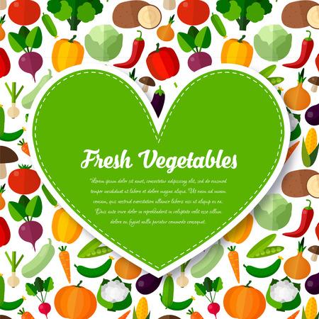 Groenten achtergrond met hart in vlakke stijl. Kleurrijke sjabloon voor het koken, menu restaurant en vegetarische gerechten Stock Illustratie