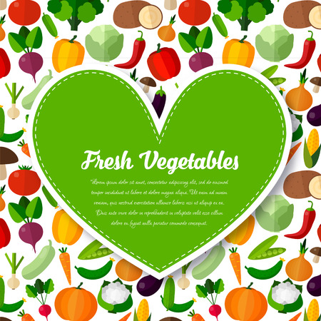 Vegetables background with heart in flat style. Colorful template for cooking, restaurant menu and vegetarian food Ilustracja