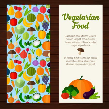 vegetarian food: Colorful template for cooking, restaurant menu and vegetarian food Illustration