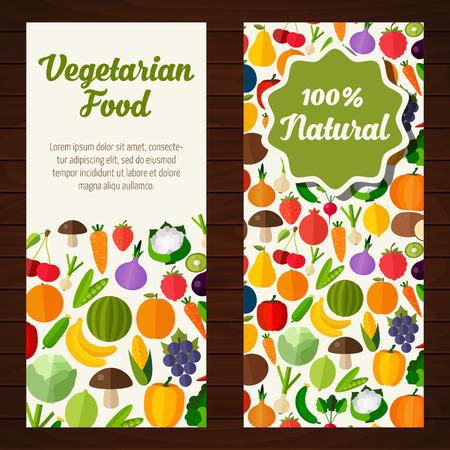 vegetarian: Colorful template for cooking, restaurant menu and vegetarian food Illustration
