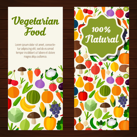 Colorful template for cooking, restaurant menu and vegetarian food Vettoriali