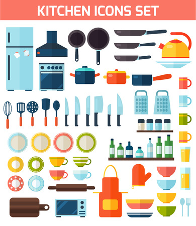 silhouettes of children: Cooking tools and kitchenware equipment symbol collection. Colorful template for cooking, restaurant menu and food design.