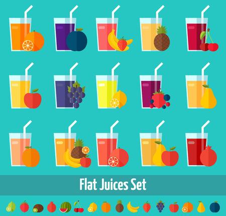 succo di frutta: Tema colorato per la progettazione, stampe e illustrazioni Vettoriali