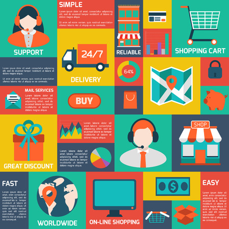 Modern flat vector shopping infographics. Colorful design elements for mobile and web applications.