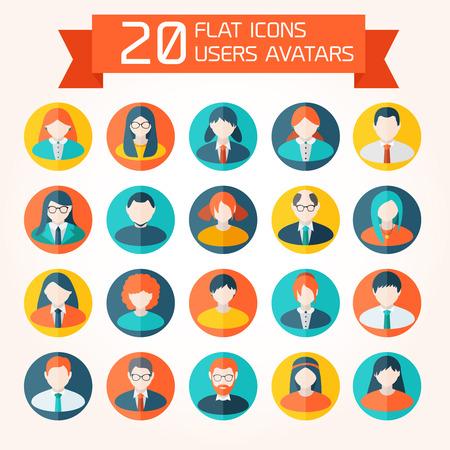 Flat User Avatar Icons Set Without Background