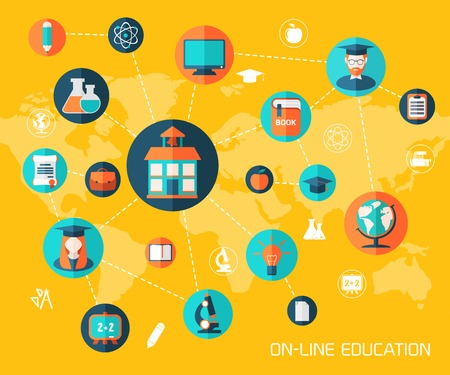On-line education and knowledge vector illustration background. Template for web and mobile applications