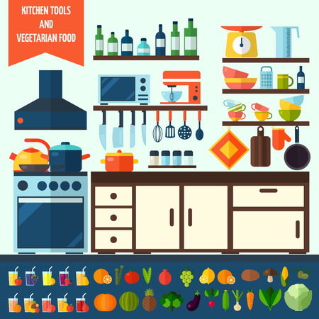 Platte keuken en vegetarisch koken iconen. Kookgerei en keukengerei apparatuur symbool collectie. Kleurrijke sjabloon voor het koken, restaurant menu en eten design.