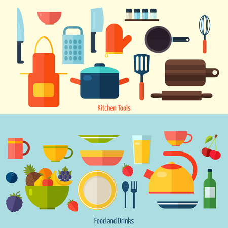 Flat kitchen and cooking background. Cooking tools and kitchenware equipment symbol collection. Colorful template for cooking, restaurant menu and food design.