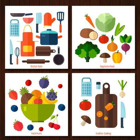 果物や野菜の背景。料理、レストラン メニューのベジタリアン フードのカラフルなテンプレート  イラスト・ベクター素材