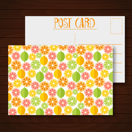 Postcard with citrus fruits. . Colorful template for cooking, restaurant menu and vegetarian food