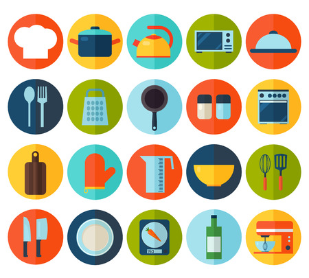 Cooking tools and kitchenware equipment symbol collection. Colorful template for cooking, restaurant menu and food design.