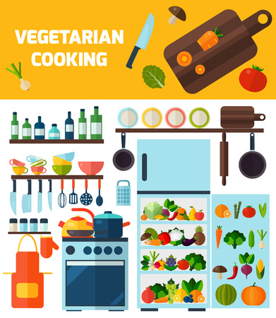 Flat kitchen and vegetarian cooking icons. Cooking tools and kitchenware equipment symbol collection. Colorful template for cooking, restaurant menu and food design.