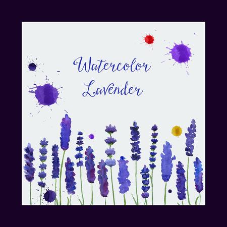 水彩のラベンダーとグリーティング カードのイラスト。結婚式の招待状。  あなたのデザイン、プリント、イラストのカラフルなテーマ