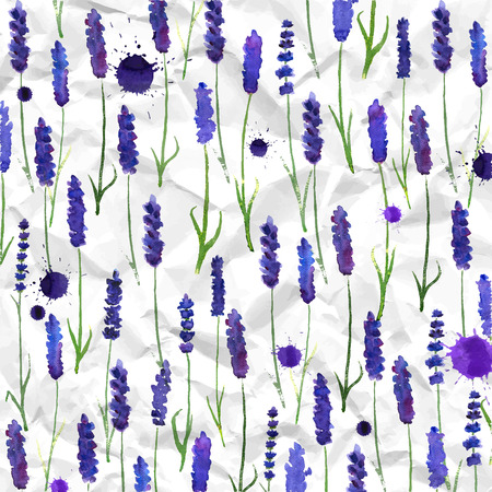 illustration for greeting cards with watercolor lavender.   Colorful theme for your design, prints and illustrations