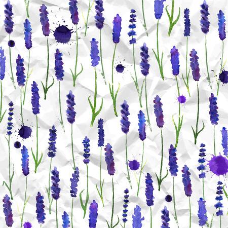 lavanda: ilustraci�n para tarjetas de felicitaci�n con lavanda acuarela. Tema colorido para su dise�o, grabados e ilustraciones