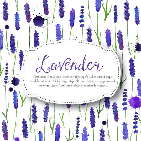 illustration for greeting cards with watercolor lavender. Colorful theme for your design, prints and illustrations Ilustração