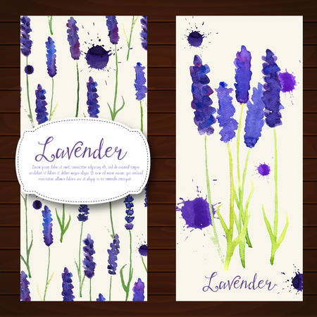 illustration with watercolor lavender.  Colorful theme for your design, prints and illustrations Ilustração