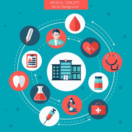 Gesundheits- und Krankenpflege Illustration. Flache Bauweise mit modernen Darstellung von medizinischen Symbole