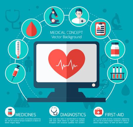 Gezondheid en medische zorg Illustratie. Platte design met moderne illustratie van medische pictogrammen