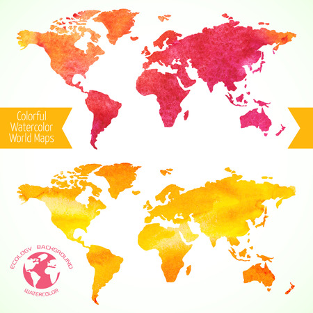 world map: Colorful template for your designs, prints and illustrations