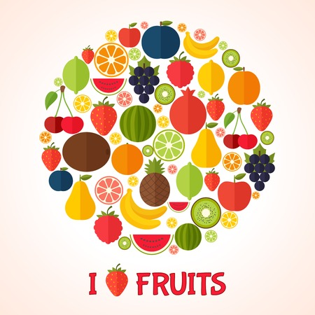 of fruit: Colorful template for cooking, restaurant menu and vegetarian food Illustration