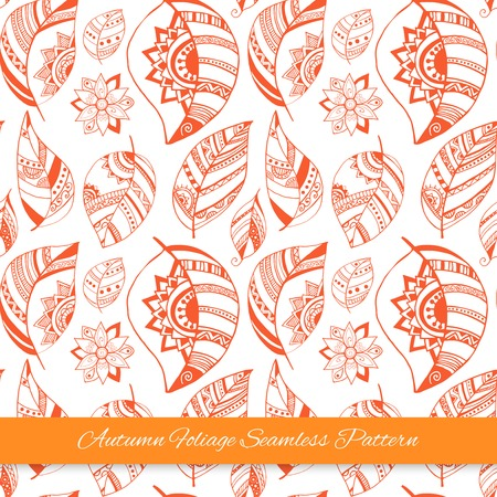 Holiday invitation card with handdrawn ornamental leaves.