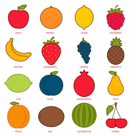 Fruits flat icon set. Colorful template for cooking, restaurant menu and vegetarian food