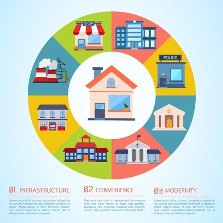 escuela edificio: Ilustración Infraestructura. Modelo colorido con para que el diseño, web y aplicaciones móviles