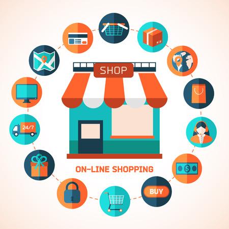 supermercado: Elementos de diseño de colores para aplicaciones móviles y web. Vectores