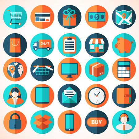 Colorful design elements for mobile and web applications. Ilustração