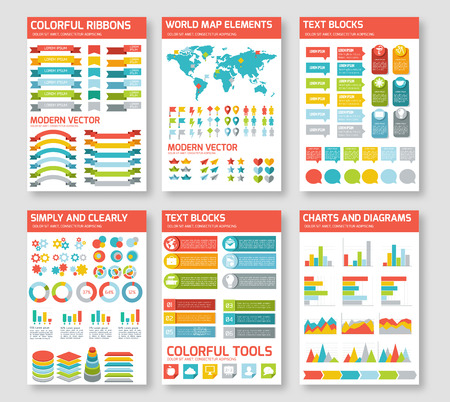 Flat infographic elements set. Colorful template for you design, web and mobile applications.