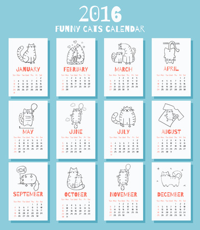 New 2016 year calendar with cute funny cartoons cats. Week starts on Sunday. Colorful theme for your design, prints and illustrations
