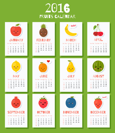 natural health: Modern calendar for new year week starts on Sunday. Colorful theme for your design, prints and illustrations