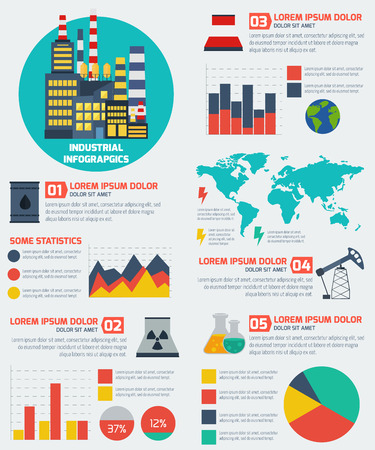 Modern industrial flat infographic background. Colorful template for you design, web and mobile applications. Ilustração