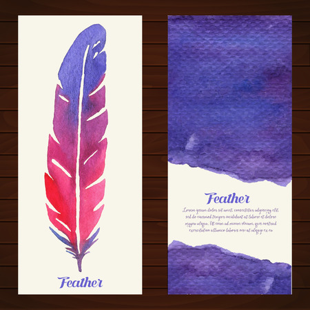 Elegant background with watercolor drawing feathers. Colorful theme for your design, prints and illustrations