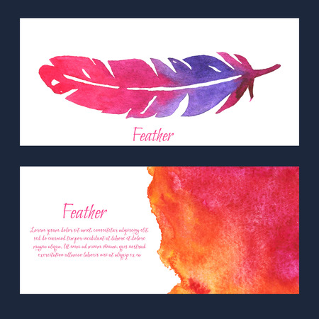 sign: Elegant background with watercolor drawing feathers. Colorful theme for your design, prints and illustrations