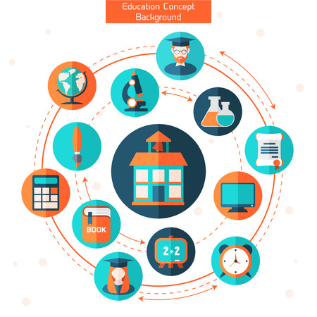 laboratory: Flat education infographic background. Colorful template for you design, web and mobile applications.