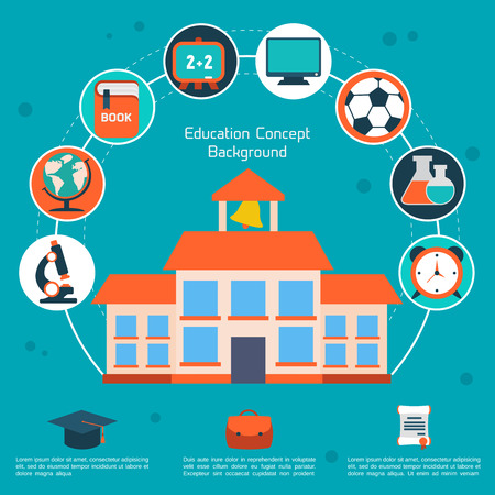 Flat education infographic background. Colorful template for you design, web and mobile applications.