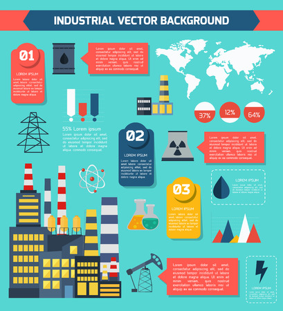 Modern industrial flat infographic background. Colorful template for you design, web and mobile applications. Illustration