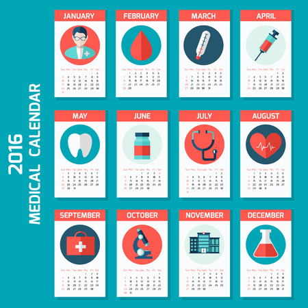 Medical calendar for new year week starts on Sunday. Colorful theme for your design, prints and illustrations Ilustração
