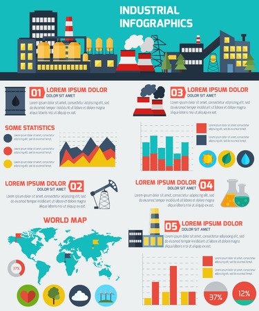 industry concept: Modern industrial flat infographic background. Colorful template for you design, web and mobile applications. Illustration