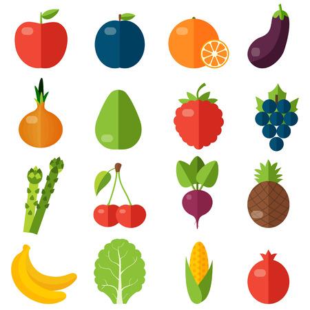 frutas tropicales: Frutas y verduras frescas iconos planos establecidos.